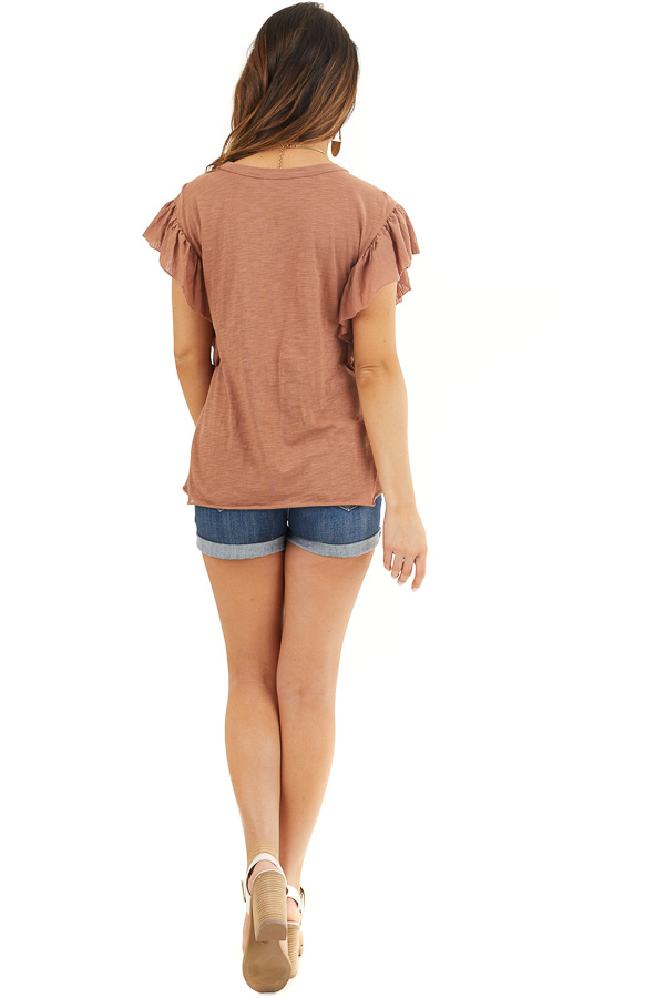 Cognac Knit Top with Short Sleeve and Ruffle Details back full body