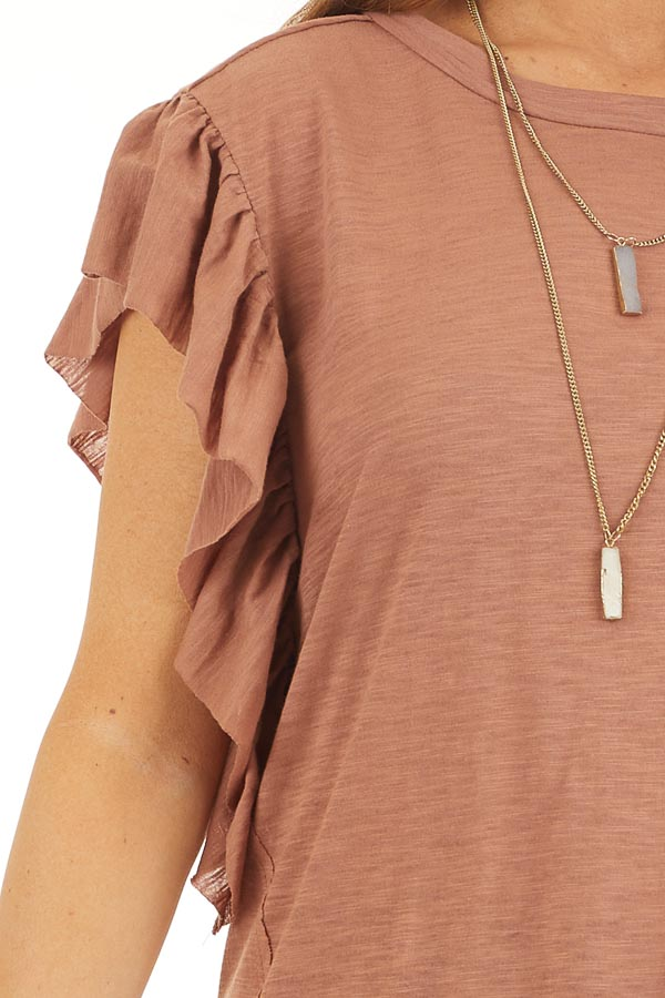 Cognac Knit Top with Short Sleeve and Ruffle Details detail