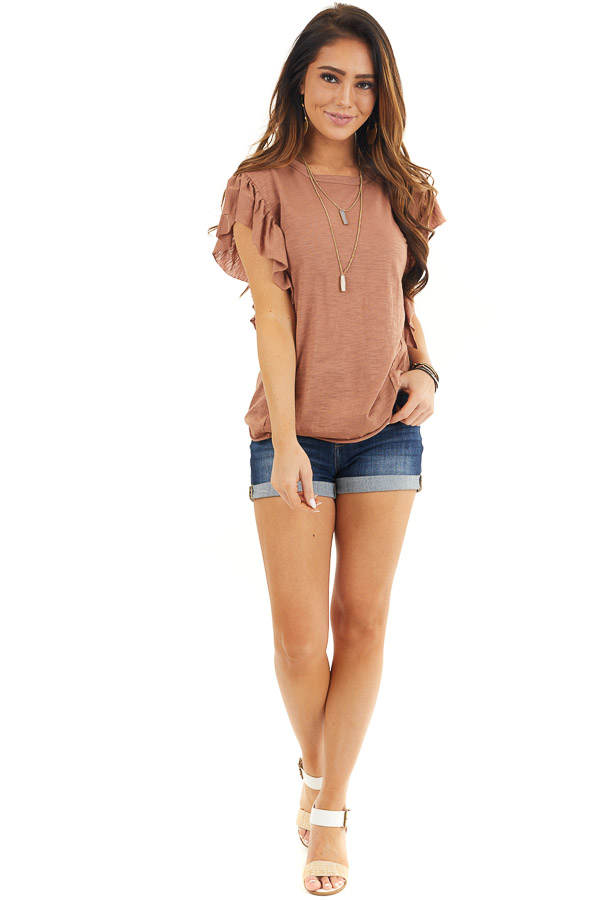 Cognac Knit Top with Short Sleeve and Ruffle Details front full body