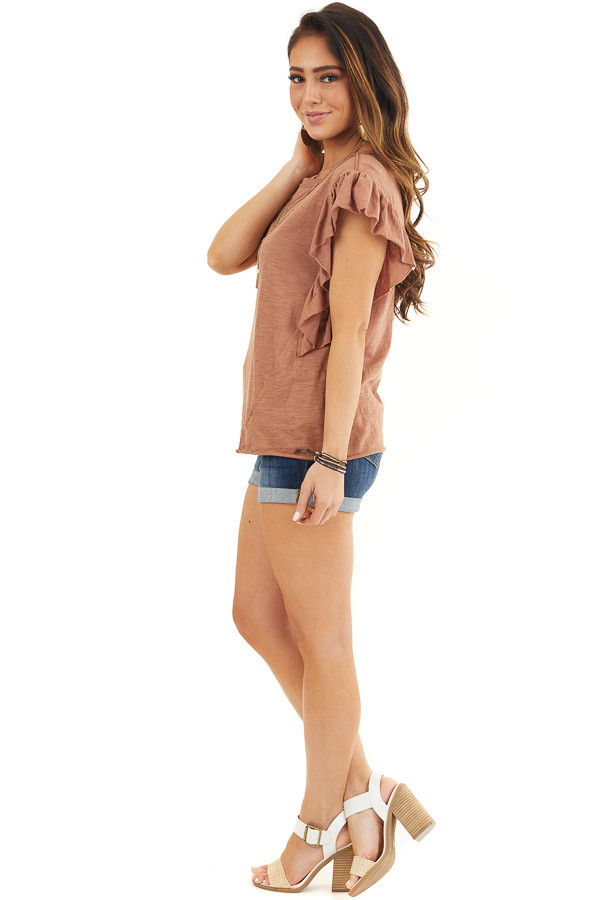 Cognac Knit Top with Short Sleeve and Ruffle Details side full body