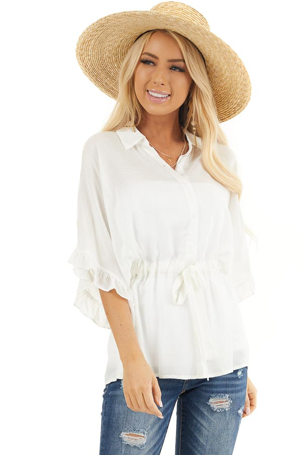 Off White Collared Button Up Blouse with Ruffle Short Sleeves front close up