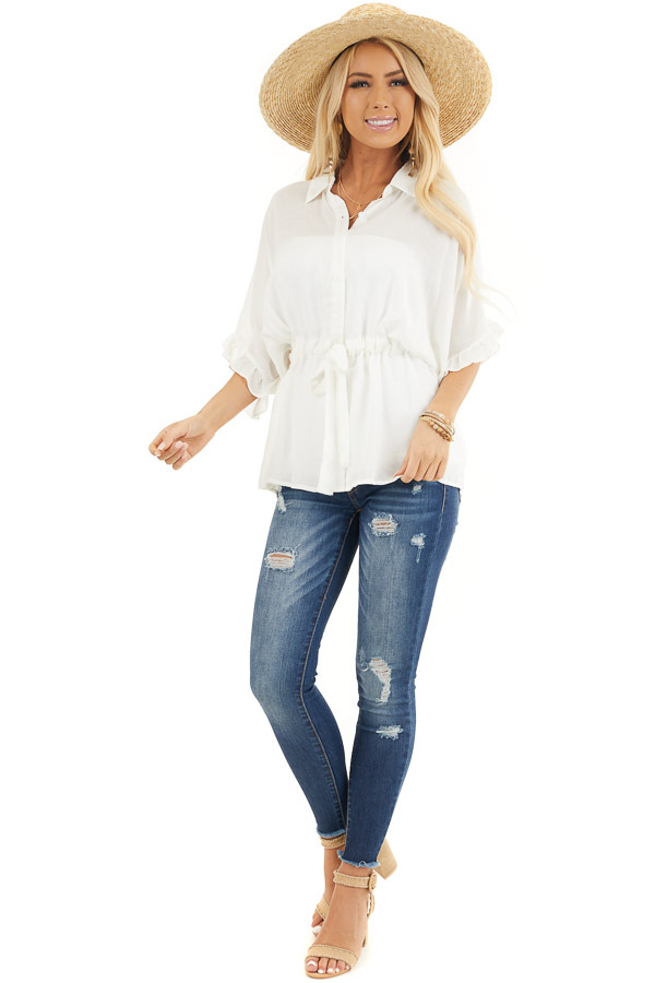 Off White Collared Button Up Blouse with Ruffle Short Sleeves front full body
