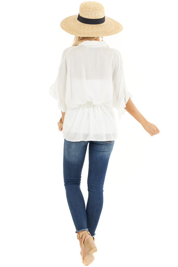 Off White Collared Button Up Blouse with Ruffle Short Sleeves back full body