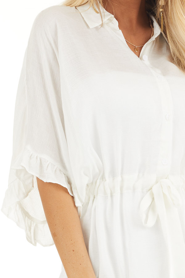 Off White Collared Button Up Blouse with Ruffle Short Sleeves detail