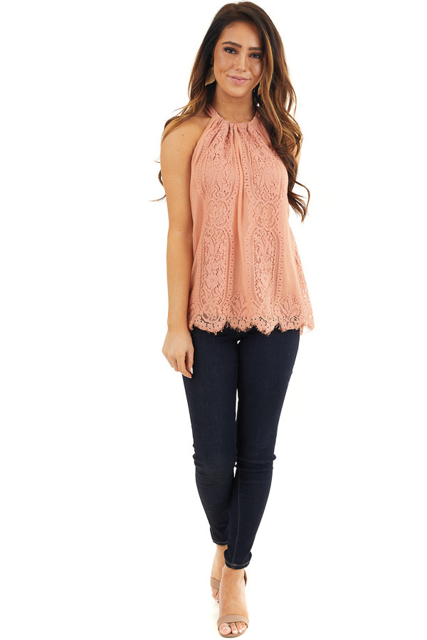 Deep Coral Lace Sleeveless Halter Top with Scalloped Hemline front full body