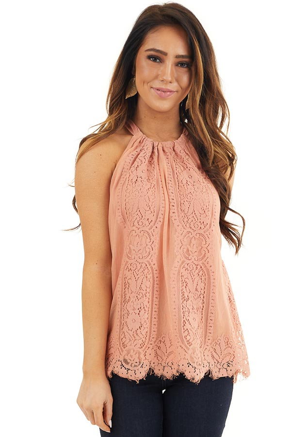 Deep Coral Lace Sleeveless Halter Top with Scalloped Hemline front close up
