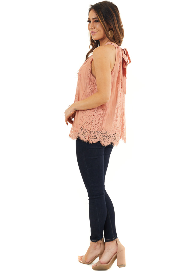 Deep Coral Lace Sleeveless Halter Top with Scalloped Hemline side full body