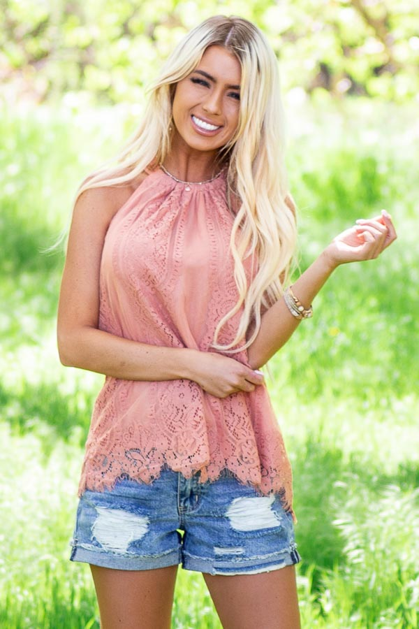 Deep Coral Lace Sleeveless Halter Top with Scalloped Hemline