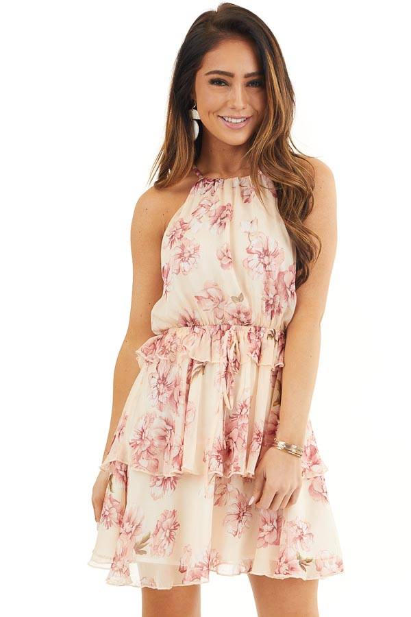 Peach and Blush Floral Sleeveless Dress with Tiered Detail front close up