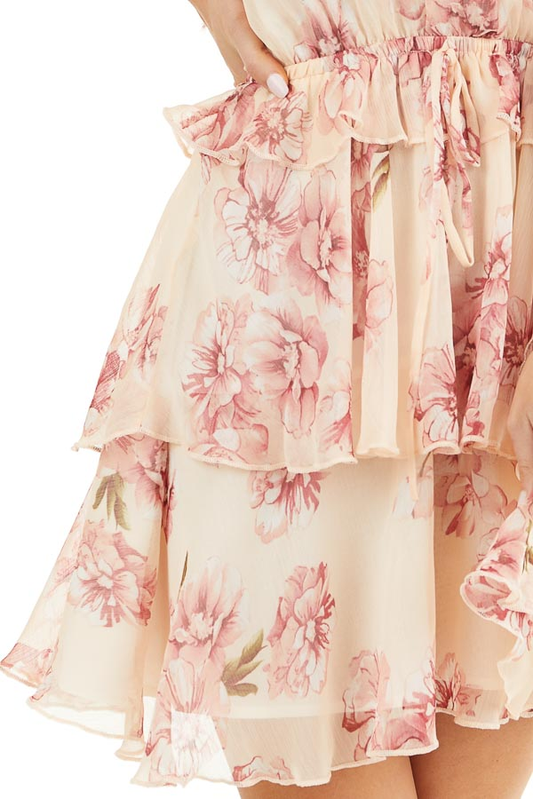 Peach and Blush Floral Sleeveless Dress with Tiered Detail detail