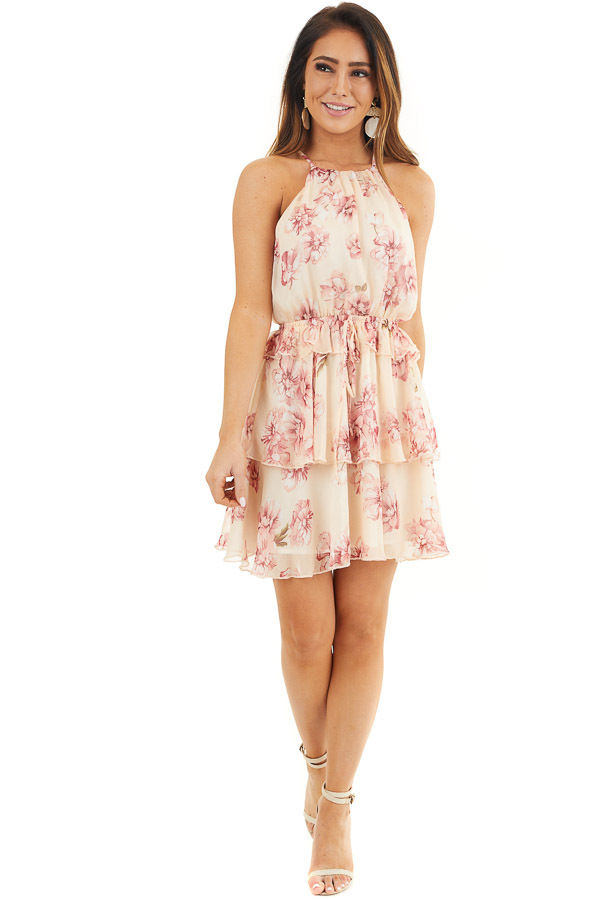 Peach and Blush Floral Sleeveless Dress with Tiered Detail front full body