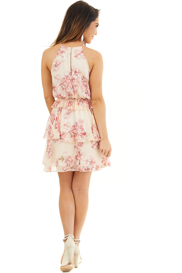 Peach and Blush Floral Sleeveless Dress with Tiered Detail back full body