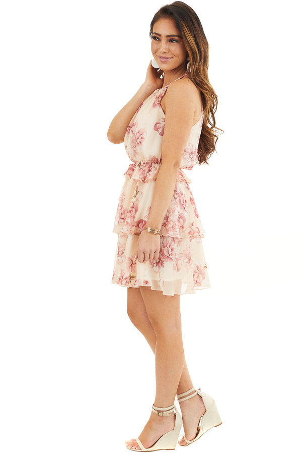 Peach and Blush Floral Sleeveless Dress with Tiered Detail side full body