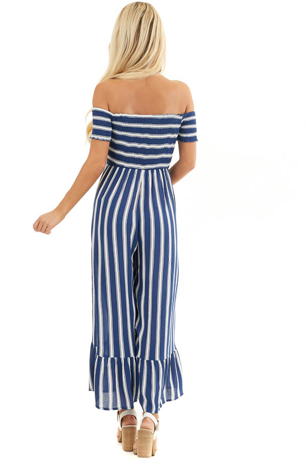 Navy and White Striped Off the Shoulder Smocked Jumpsuit back full body