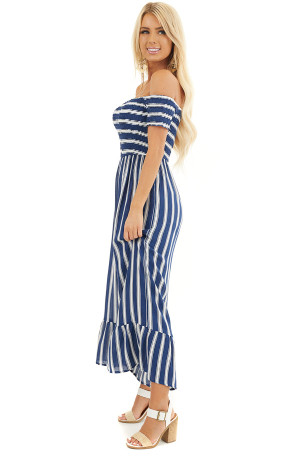 Navy and White Striped Off the Shoulder Smocked Jumpsuit side full body