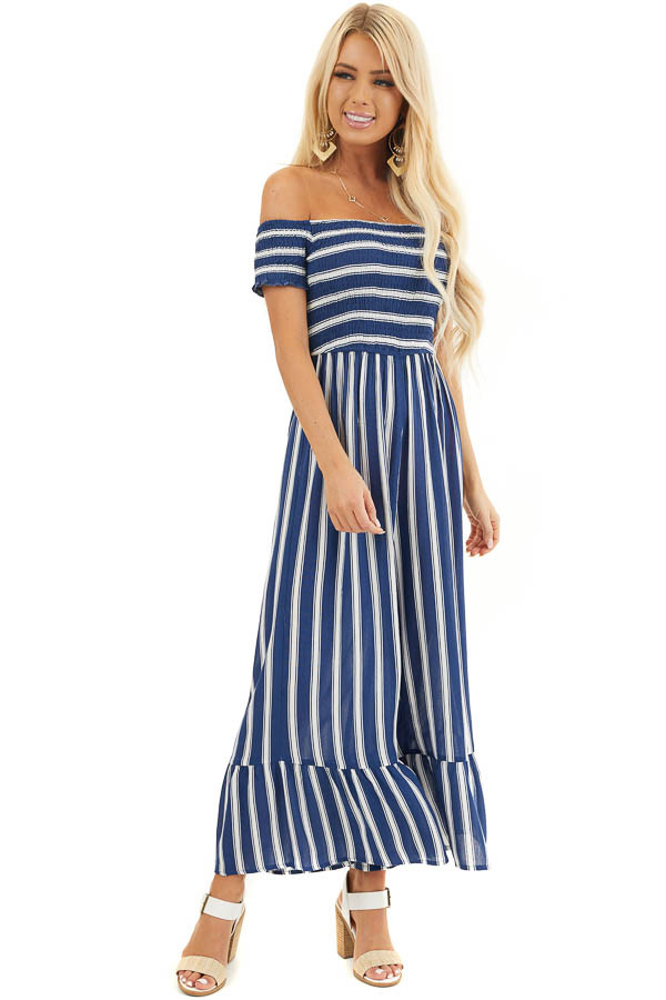 Navy and White Striped Off the Shoulder Smocked Jumpsuit front full body