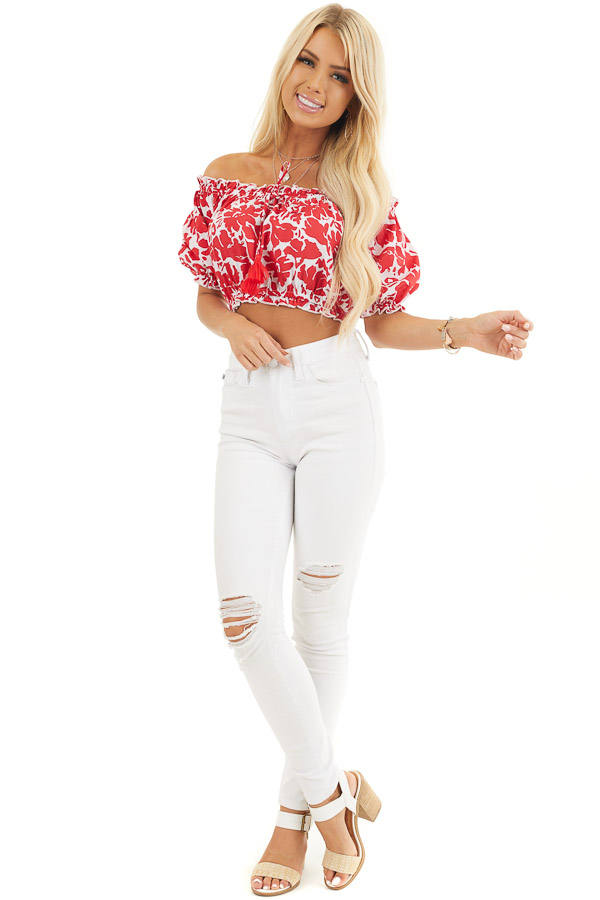 Lipstick Red Floral Off Shoulder Crop Top with Tie Detail front full body