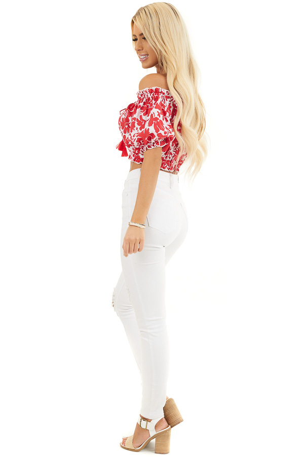 Lipstick Red Floral Off Shoulder Crop Top with Tie Detail side full body