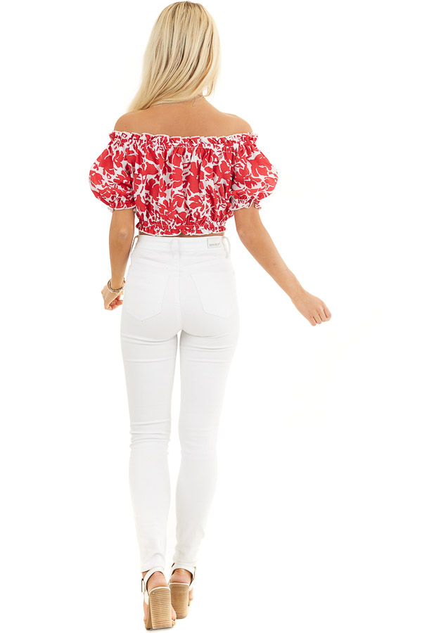 Lipstick Red Floral Off Shoulder Crop Top with Tie Detail back full body