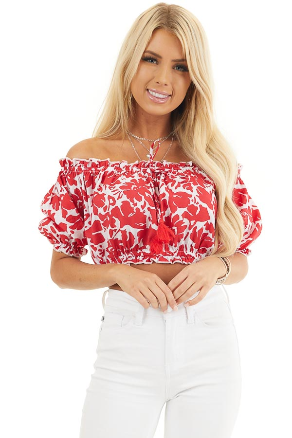 Lipstick Red Floral Off Shoulder Crop Top with Tie Detail front close up