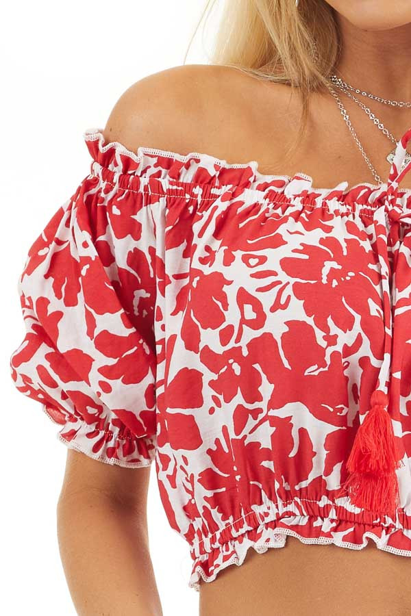 Lipstick Red Floral Off Shoulder Crop Top with Tie Detail detail
