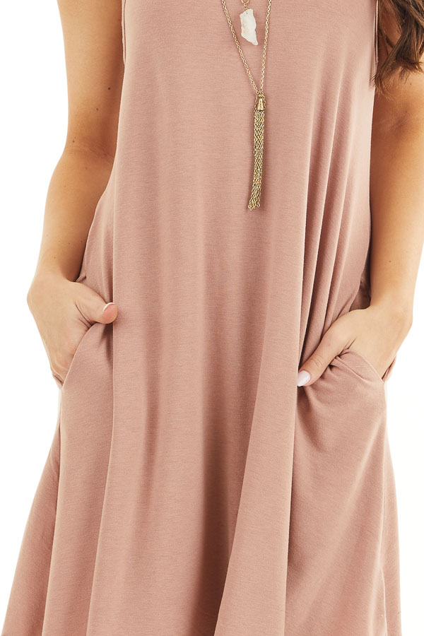 Dusty Rose Square Neck Mini Tank Dress with Side Pockets detail