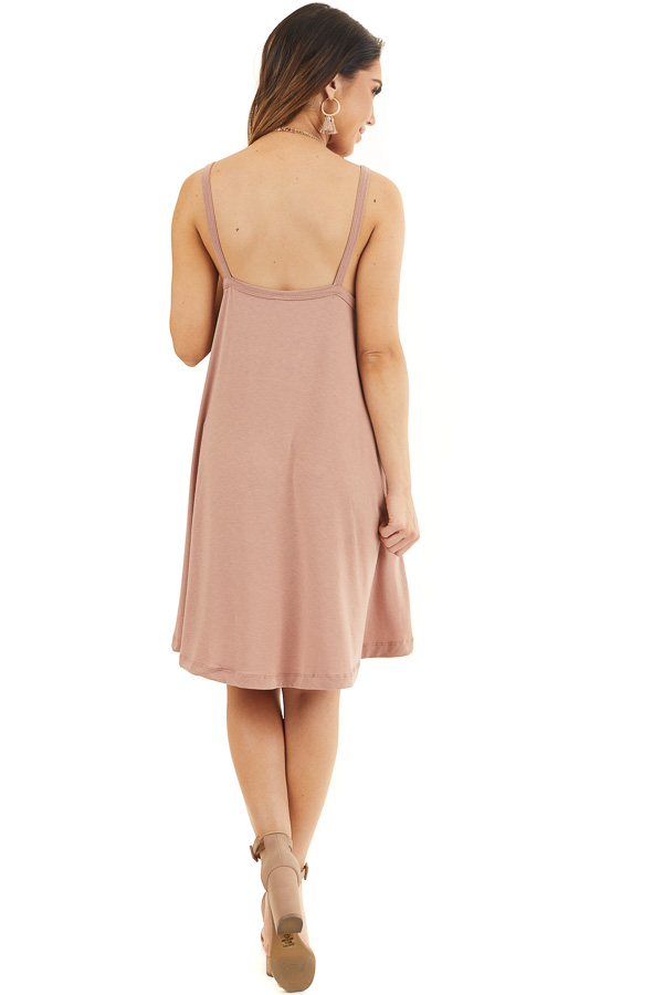 Dusty Rose Square Neck Mini Tank Dress with Side Pockets back full body