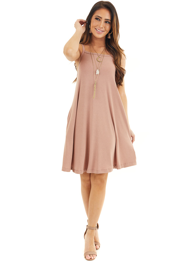 Dusty Rose Square Neck Mini Tank Dress with Side Pockets front full body