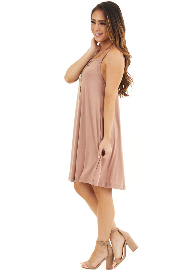 Dusty Rose Square Neck Mini Tank Dress with Side Pockets side full body
