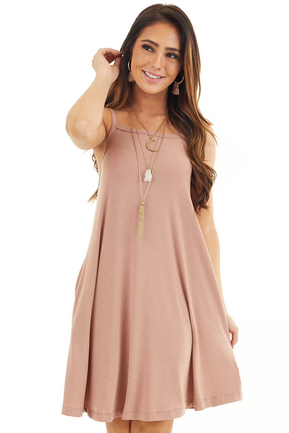 Dusty Rose Square Neck Mini Tank Dress with Side Pockets