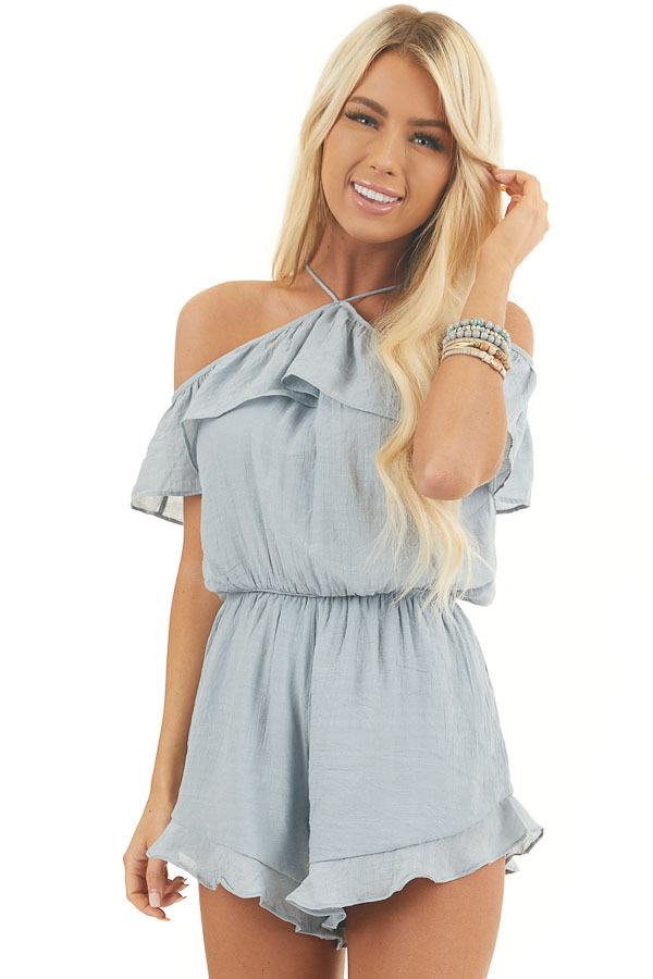 Dusty Blue Cold Shoulder Romper with Ruffle Details front close up