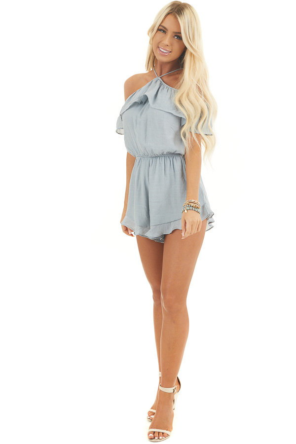 Dusty Blue Cold Shoulder Romper with Ruffle Details front full body