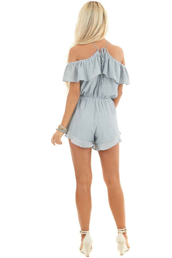 Dusty Blue Cold Shoulder Romper with Ruffle Details back full body