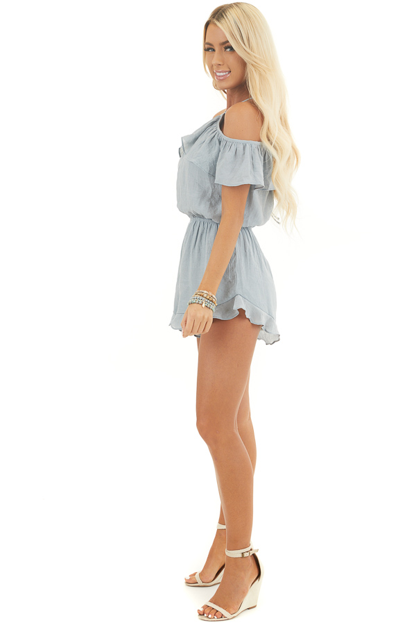 Dusty Blue Cold Shoulder Romper with Ruffle Details side full body