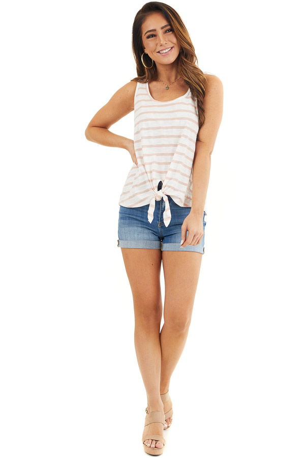 White and Dusty Rose Striped Tank Top with Front Tie Detail front full body