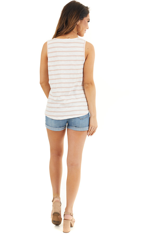White and Dusty Rose Striped Tank Top with Front Tie Detail back full body