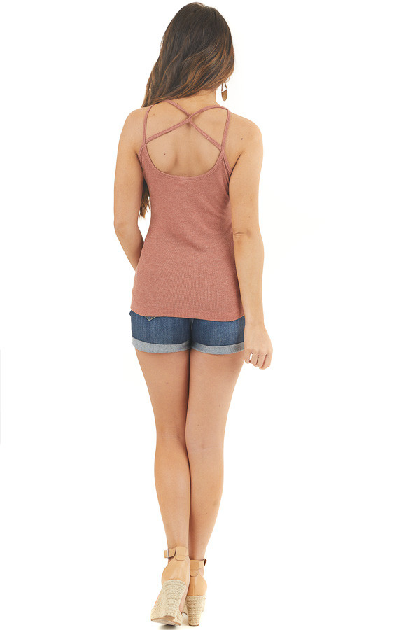 Brick Ribbed Tank with Front and Back Criss Cross Detail back full body