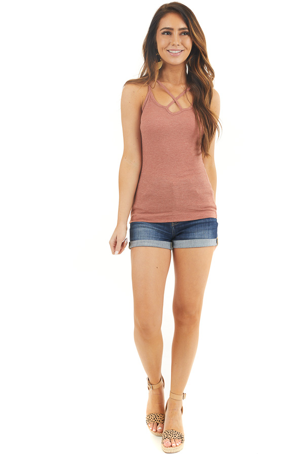 Brick Ribbed Tank with Front and Back Criss Cross Detail front full body