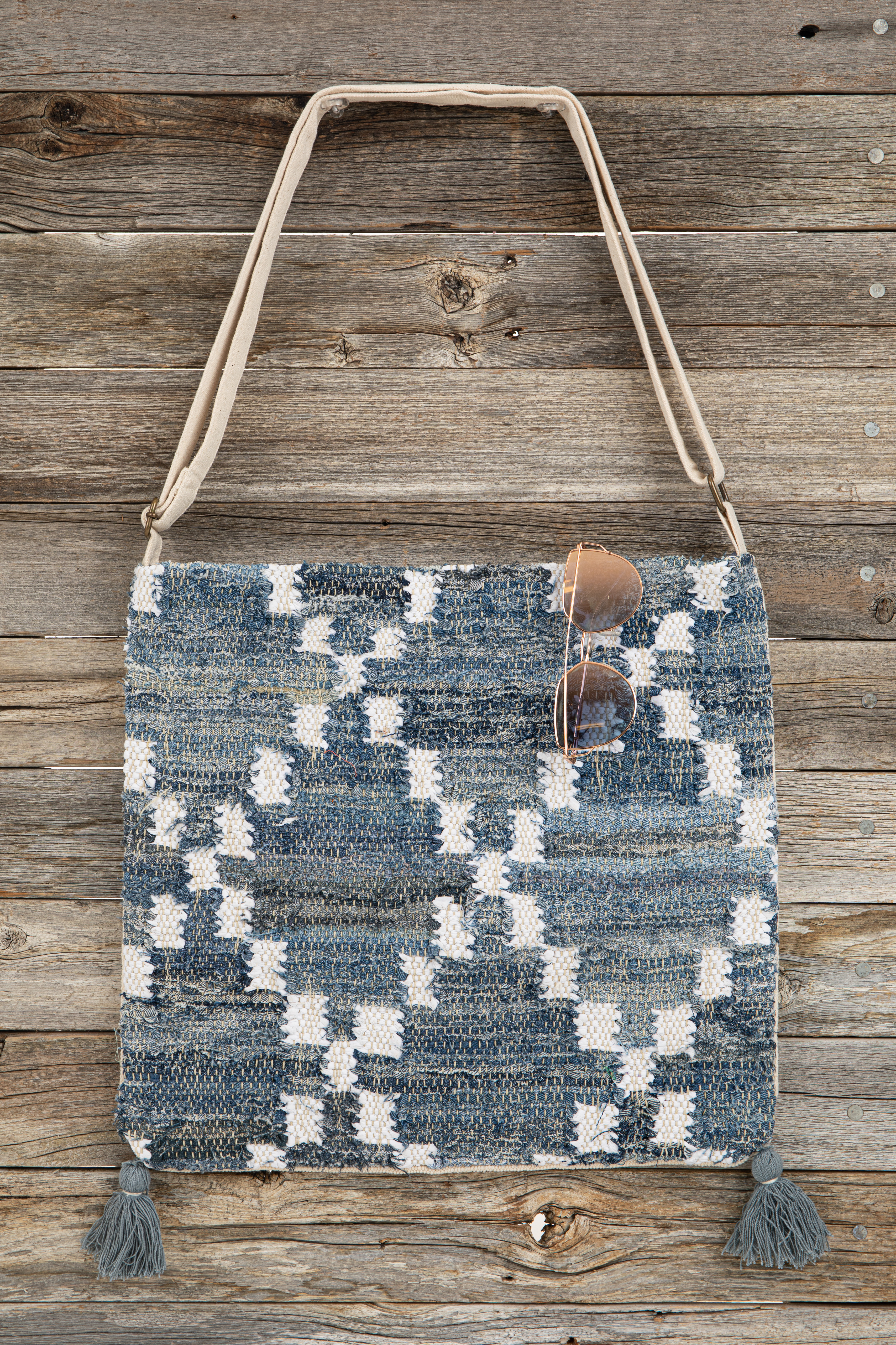 Denim Blue Diamond Pattern Tote Bag with Adjustable Strap