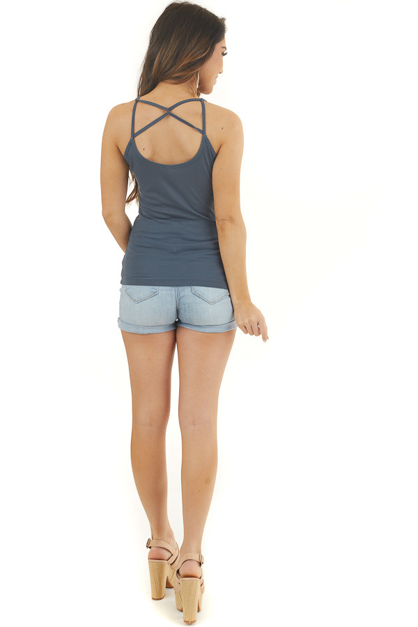 Teal Ribbed Tank with Front and Back Criss Cross Detail back full body