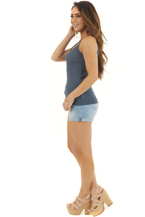 Teal Ribbed Tank with Front and Back Criss Cross Detail side full body