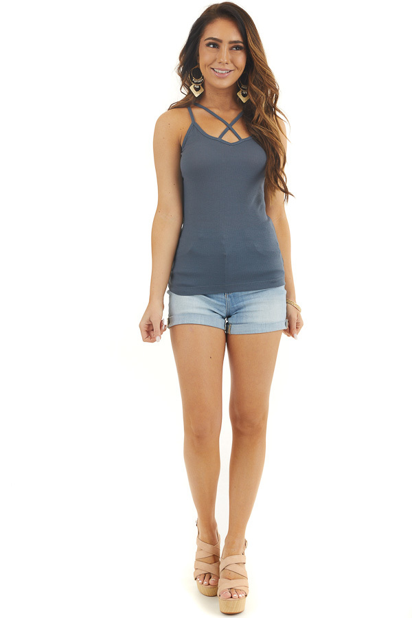 Teal Ribbed Tank with Front and Back Criss Cross Detail front full body