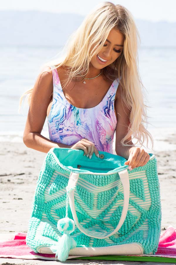 Seafoam and Oatmeal Large Woven Tote Bag with Tassel Detail