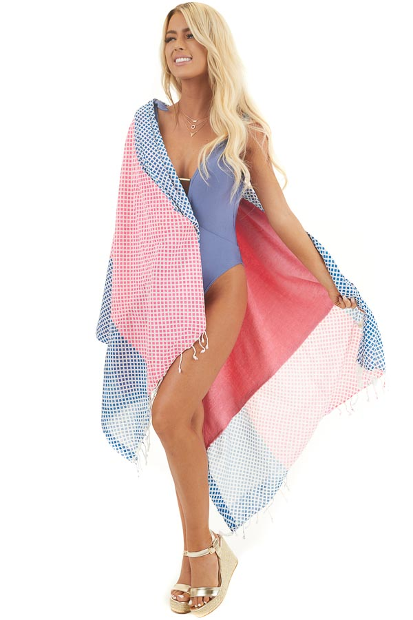 Pink and Blue Diamond Print Beach Towel with Fringe Details