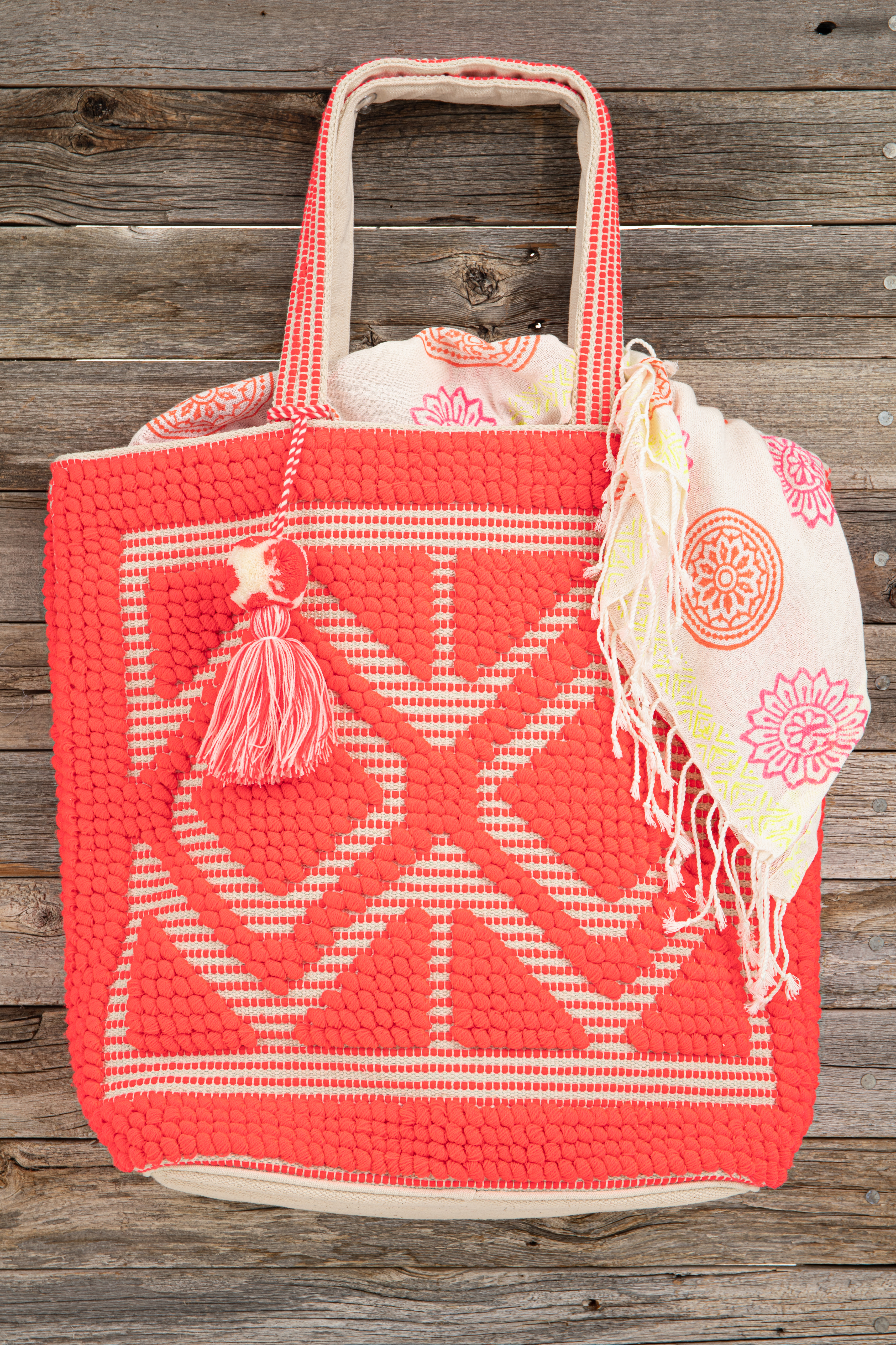 Hot Pink and Oatmeal Large Woven Tote Bag with Tassel Detail