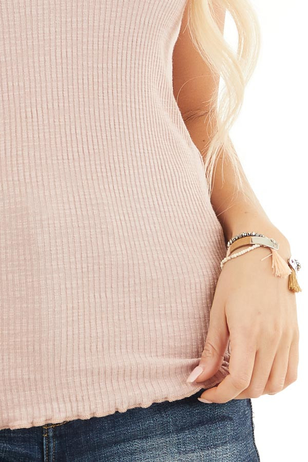 Dusty Rose Ribbed Tank with Racerback Detail detail