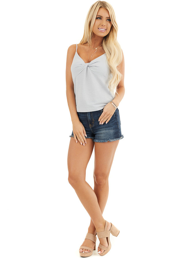 Cloud Grey Camisole Top with Front Twist Detail front full body