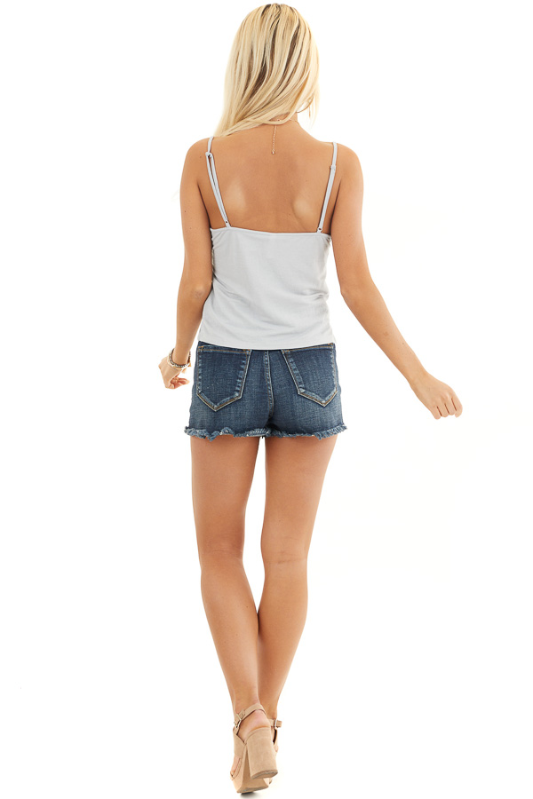 Cloud Grey Camisole Top with Front Twist Detail back full body