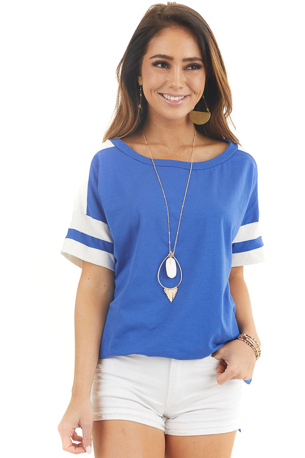 Royal Blue and White Varsity Tee with Side Slits front close up