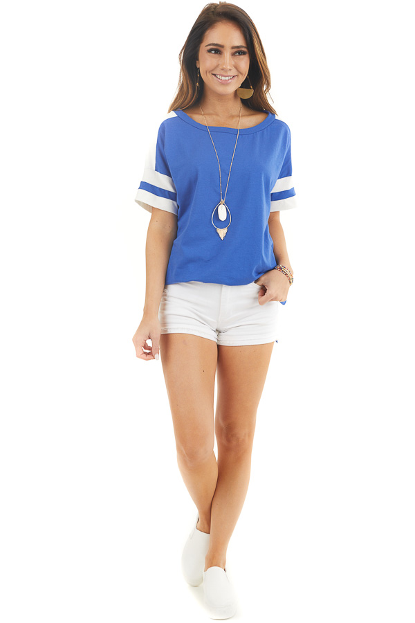 Royal Blue and White Varsity Tee with Side Slits front full body